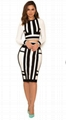 Black&White Long Sleeves Bandage Dress