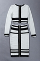 Black&White Long Sleeves Bandage Dress Stylish Evening Dress