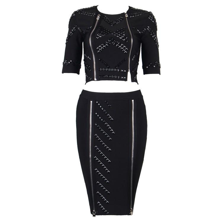 Luxurious Bandage Dress with Beads and Zippers Details 4