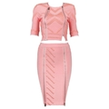 Luxurious Bandage Dress with Beads and Zippers Details 1