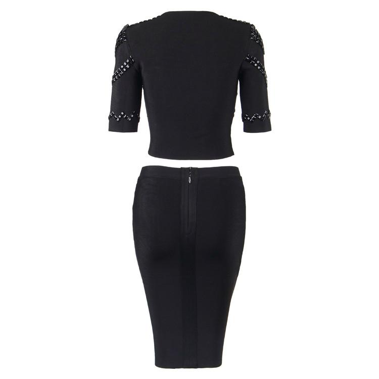 Luxurious Bandage Dress with Beads and Zippers Details 5