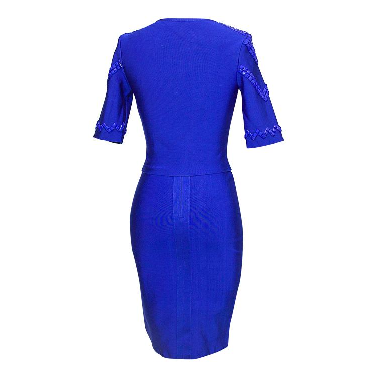 Luxurious Bandage Dress with Beads and Zippers Details 7