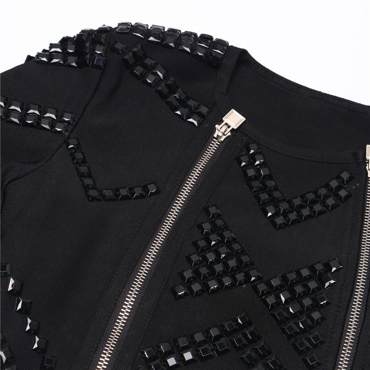 Luxurious Bandage Dress with Beads and Zippers Details 11