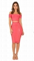 Pink Cap Sleeves Bandage Dress Off