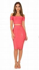 Pink Cap Sleeves Bandage Dress Off