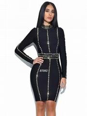 Beading style women midi dress rayon bandage dress
