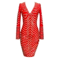 Deep V long sleeves bandage dress handmade beading style