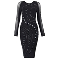 Luxurious Celebrity Bandage Dress with Beads Embellishments