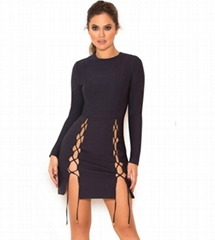 Black Bandage Dress with Side Slips and Crossed Straps Details