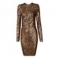 Women's Round Neck Long-Sleeved Dress Backless Dresses