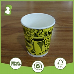 Custom logo printed double wall paper disposable cups