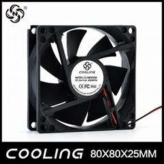 Axial Flow Fan 80X80X25mm 3.3V 5V 12V 24V  Factory Good Price