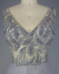 Silver Chiffon V Neck Prom Bridesmaid Dress