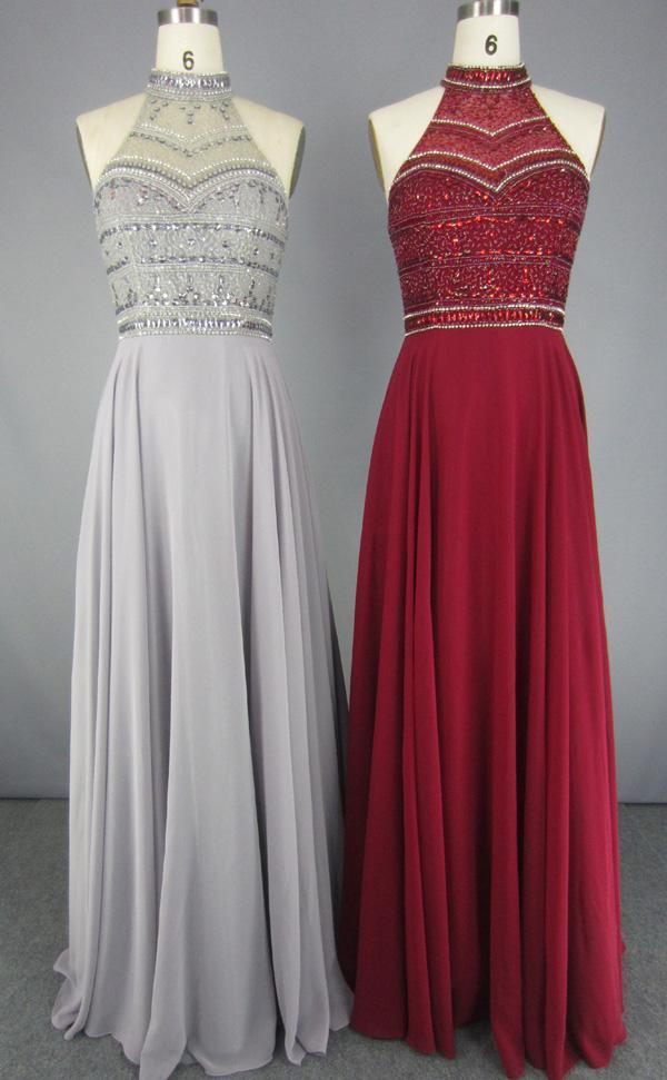 Latest Fashion Chiffon Sequined Beading Prom Dresses 5