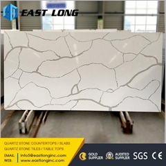 Artificial quartz slabs with polished stone surface