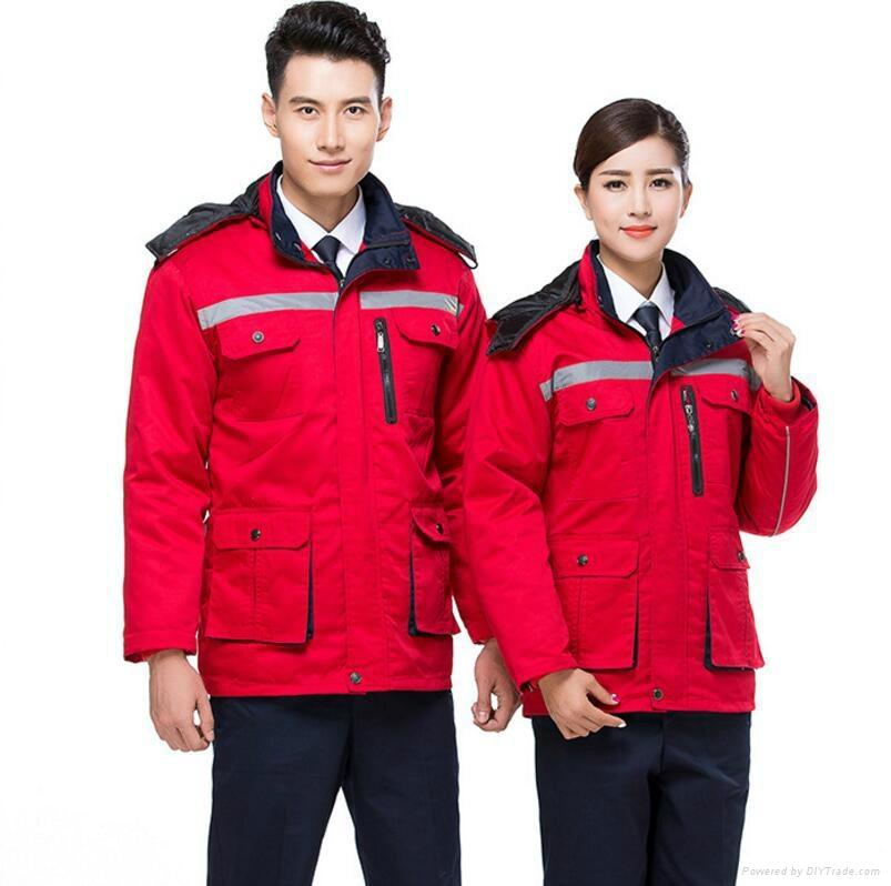 winter padded jacket cap workwaear or uniform protective safety suits 3