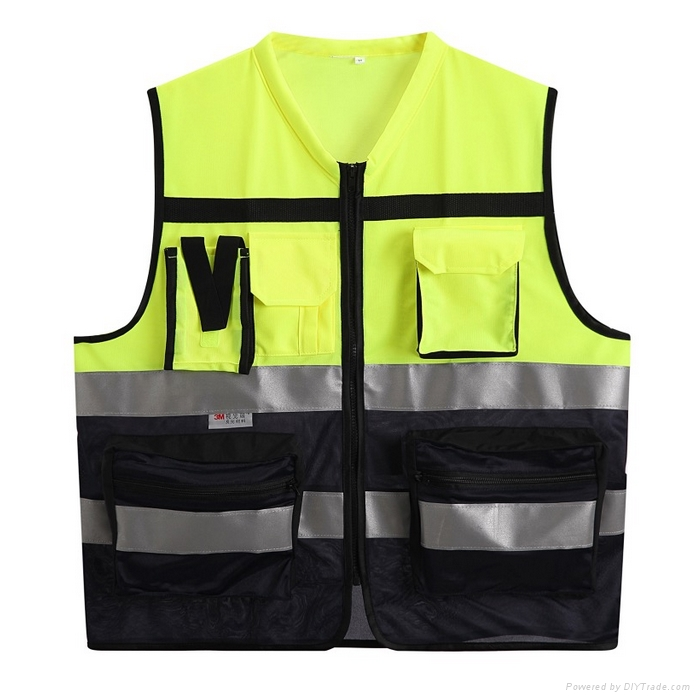 factory wholsale cheap net and  front pocket reflective safty vest 1