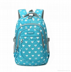 Polyester girl student backpack school bag with cute printing junior primary