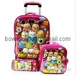 3-in-1 trolley wheeled school bag set with lunch box and pencil case