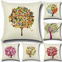 时尚靠枕田园小清新卡通花树图案抱枕创意家居抱枕套不含芯