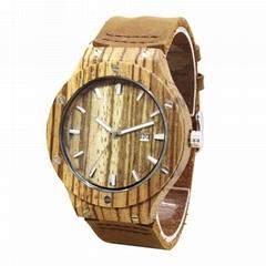 真皮木紋手錶休閑款