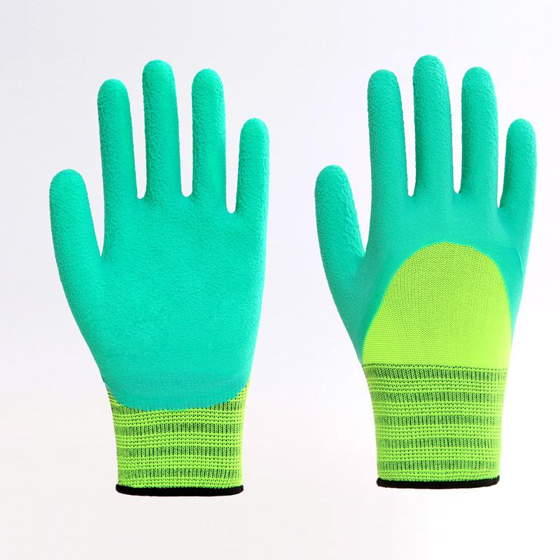 Polyester Liner Foam Latex Coating Working Gloves 2