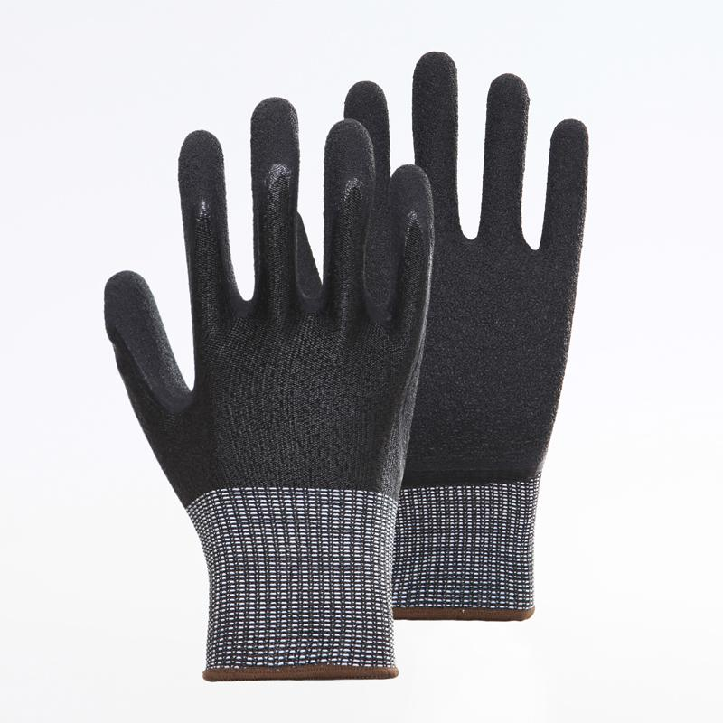 Latex Palm Coating Crinkle Working Safety Gloves 5