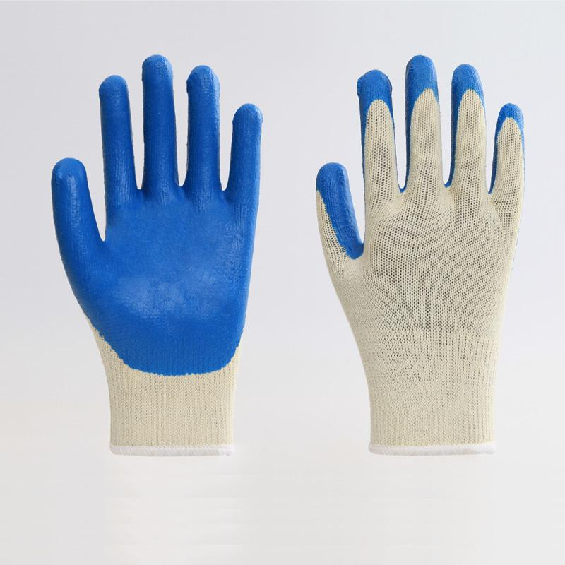 Cotton Liner Blue Latex Coating Smooth Safety Gloves 5