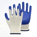 Cotton Liner Blue Latex Coating Smooth Safety Gloves 3