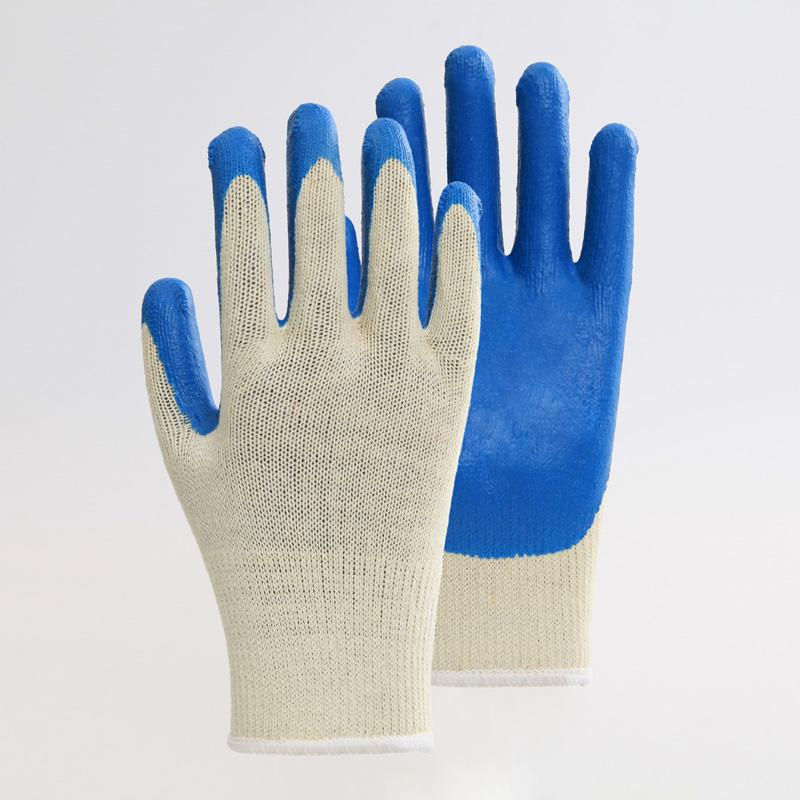 Cotton Liner Blue Latex Coating Smooth Safety Gloves 2