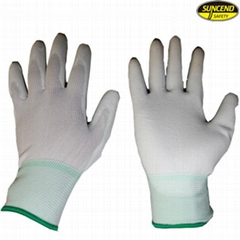 13g polyester white PU coated gloves
