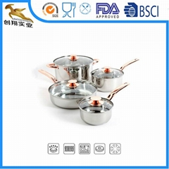 Stainless Steel Cookware Set Sauce Pot 8PCS 3fly