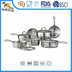 Premium 18/8 Stainless Steel Cookware Set 12-Piece Tri-Ply