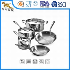 18/10 Stainless-Steel Tri-Ply Clad Cookware Set 8PCS