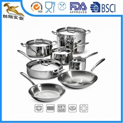 Tri-Ply Stainless Steel Cookware Set 12piece All Clad