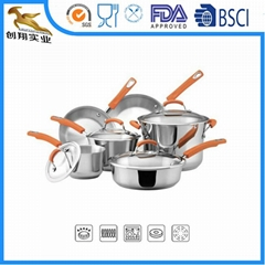 304 Stainless Steel Cookware Set Frying Pans and Pots 10Piece