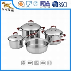 18/10 Stainless steel cookware set 7pcs sauce pan