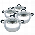 High quality S.Steel Sauce Pot Set with Lid 4pc