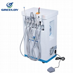 mobile dental unit with curing light and scaler