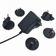 interchangeable plug 12V 1.5A ac adapter