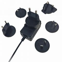 16.8V1A转换插脚锂电池充电器 多国插脚可换充电器