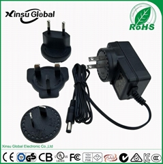 6V 1.5A 9W power adapter with interchangeable plug