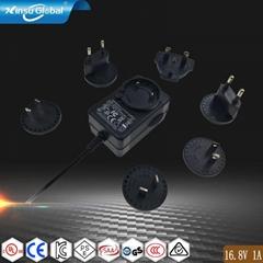 16.8V1A轉換插腳鋰電池充電器 多國插腳可換充電器
