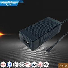 电源厂家批发22V5A磷酸铁锂电池充电器 安规认证充电器
