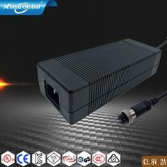 43.8V2A磷酸铁锂电池充电器,日本PSE认证43.8V充电器
