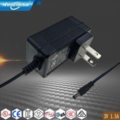 3V1.5A电源适配器CE ROHS PSE KC FCC UL CUL GS CB认证