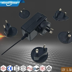 interchangeable plug 12V 1.5A ac adapter (Hot Product - 1*)