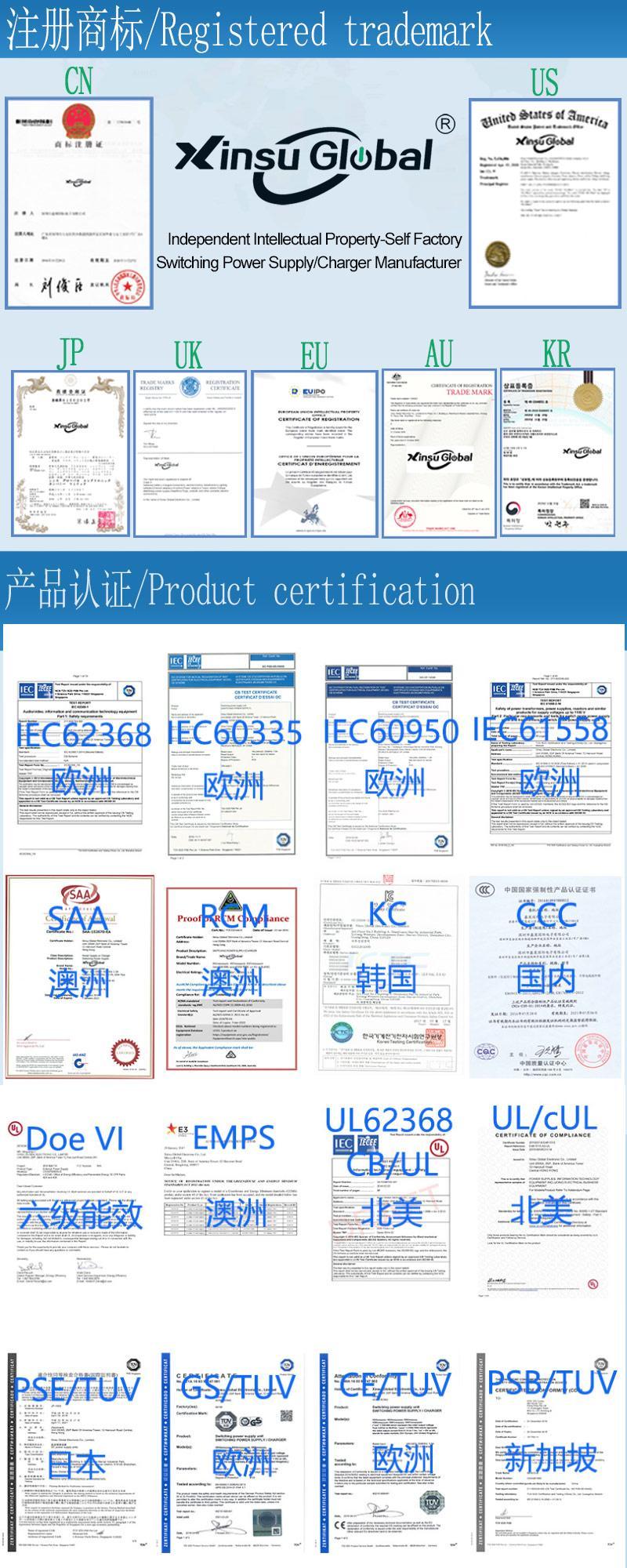 UL PSE GS认证48V1.5A 可换插头/转换脚电源适配器 8