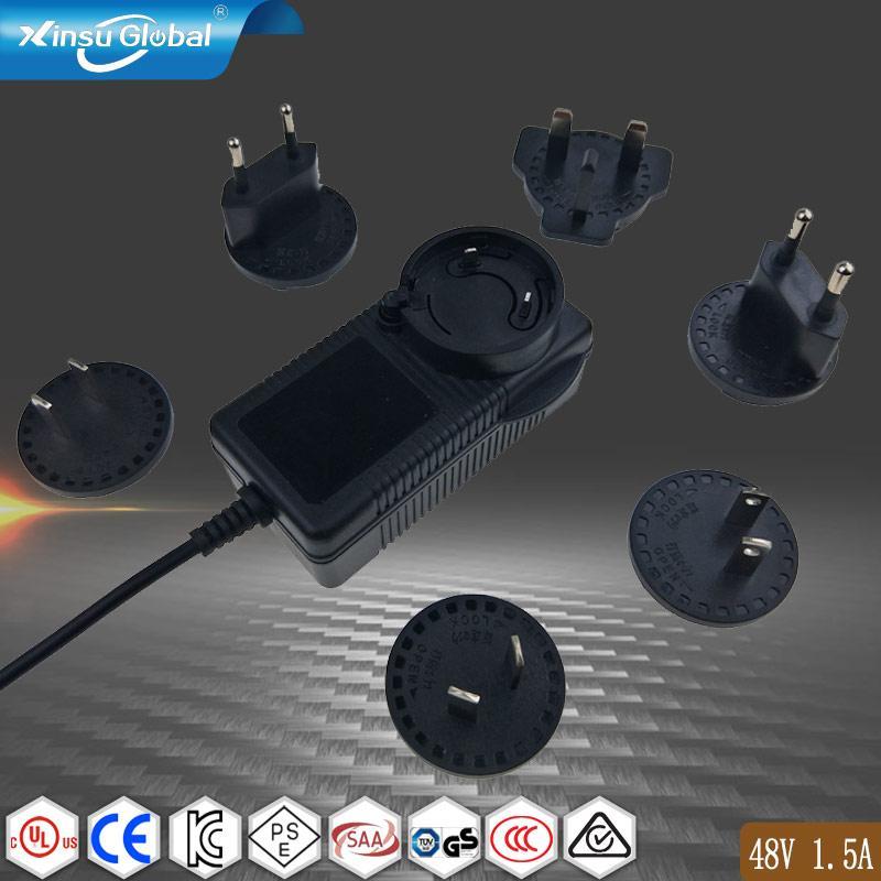 UL PSE GS认证48V1.5A 可换插头/转换脚电源适配器 1