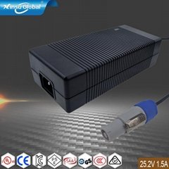 电源厂家销售25.2V1.5A锂电池充电器  多国认证